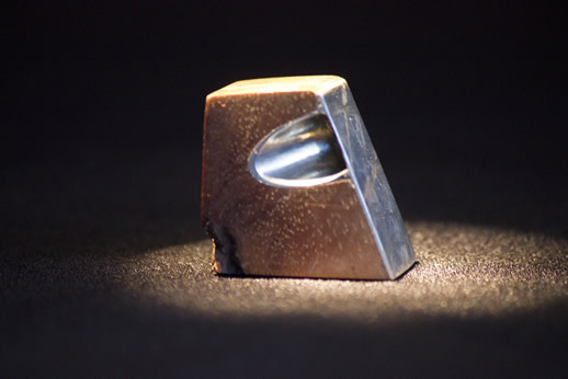 Silver and Koa wood pocket sculpture by Tim DeShong, featured at the Ice Cube gallery in Denver, Colorado
